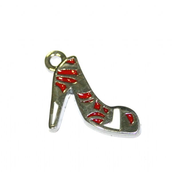 1pce x 16*15mm Rhodium plated red pattern woman smart shoes enamel charm - S.D03 - CHE1084